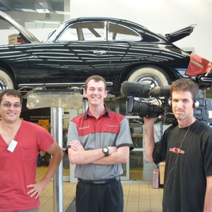 Les Dawson (Director), Scott Legg (Student) Stephen Moody (Camera) in front of 1950s Porsche